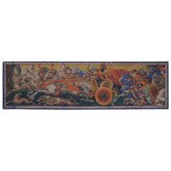20th Century Large Italian Art Deco Tempera on Canvas Signed Panel