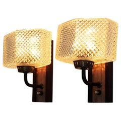 Set of 2 Danish Teak and Glass Sconces Made in the 1960s, Scandinavian Modern