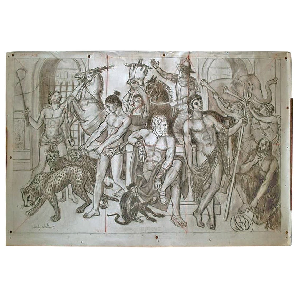 """Charles Real """"Circus"""", Charcoal Drawing Signed Lower Left"""