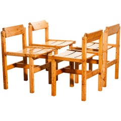 1960s, Pine Set of Four Chairs by Edvin Helseth, Norway