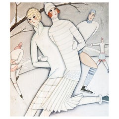 """""""Ice Skating,"""" Fabulous, High Style Art Deco Painting for B. Altman Dept. Store"""