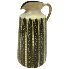 Signed Ceramic Water Pitcher Ady Mid-Century Modern, Italy