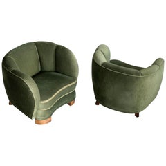 Pair of 1940s Danish Low Club or Lounge Chairs in the Style of Lassen or Boesen