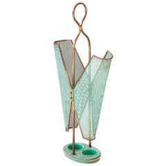 Italian Brass and Sage Green Umbrella Holder, 1950s