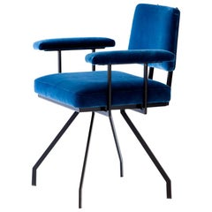 Italian Black Iron and Blue Velvet Spider Armchair, 1950s