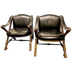 Pair Drexel Carved Safari/Campaign Chairs, circa 1970