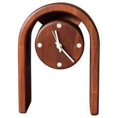 Floating Double Sided Studio Walnut Clock