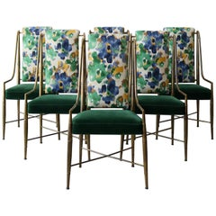 "Set of 6 Solid Brass Faux Bamboo ""Imperial"" Dining Chairs by Mastercraft"
