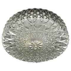 Large Ice Crystal Pattern Glass Flush Mount Ceiling Light, Austria, 1960s