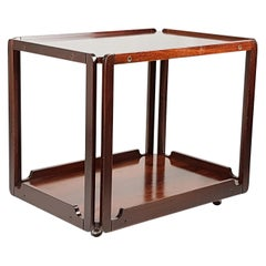 Italian Rosewood 1960s Serving Cart with Two Trays Attributed to Bernini