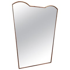 Gio Ponti's Style Midcentury Italian Brass Shaped Wall Mirror