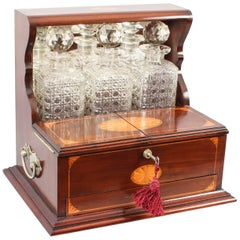 19th Century Sheraton Revival Three Crystal Decanter Tantalus
