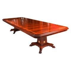 Bespoke Regency Revival Flame Mahogany Twin Pedestal Dining Table