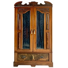 Antique Double Wardrobe Armoire Walnut 19th Century Edwardian, circa 1900s