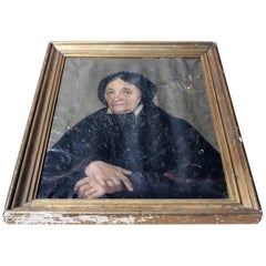 French School Oil on Canvas Portrait of an Elderly Lady in Mourning c.1870-80