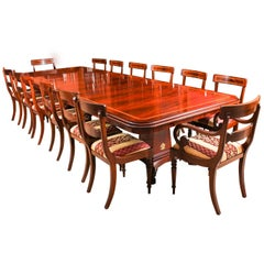 Bespoke Regency Revival Twin Base Dining Table & 14 Chairs, 21st Century