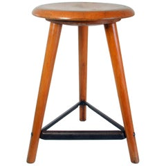 Midcentury German Beechwood and Iron Industrial Work Stool AMA Schemel, 1950s