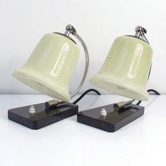 Vintage German Art Deco Bauhaus Marble, Chrome and Glass Table Lamps, 1930s