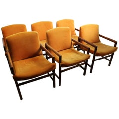 Set of 6 Rosewood Frame Dining Chairs by Baughman