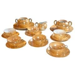 Chinesisches Schönes Porzellan Teeservice in Gold, Beige und Orange, 20. Jahrhundert