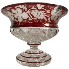Bohemian Egermann Ruby Bowl Cut-To-Clear Glass Centrepiece, 19th Century