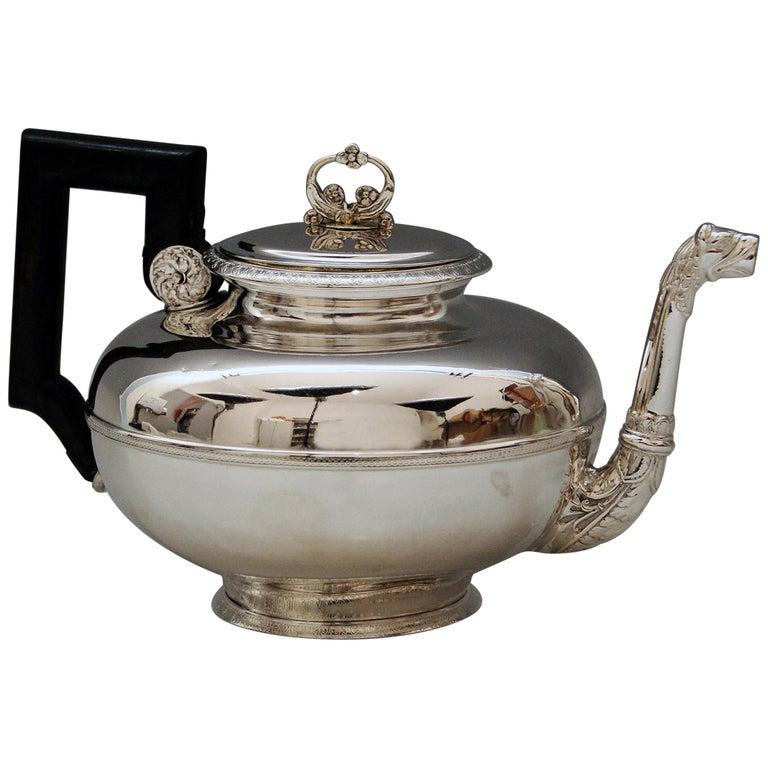 Silver Austria Vienna Tea Pot Biedermeier Period by Christian Sander Made 1829 For Sale