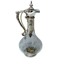 Silver 800 Historicism Glass Decanter Wine Carafe, Austria Made circa 1880-1890