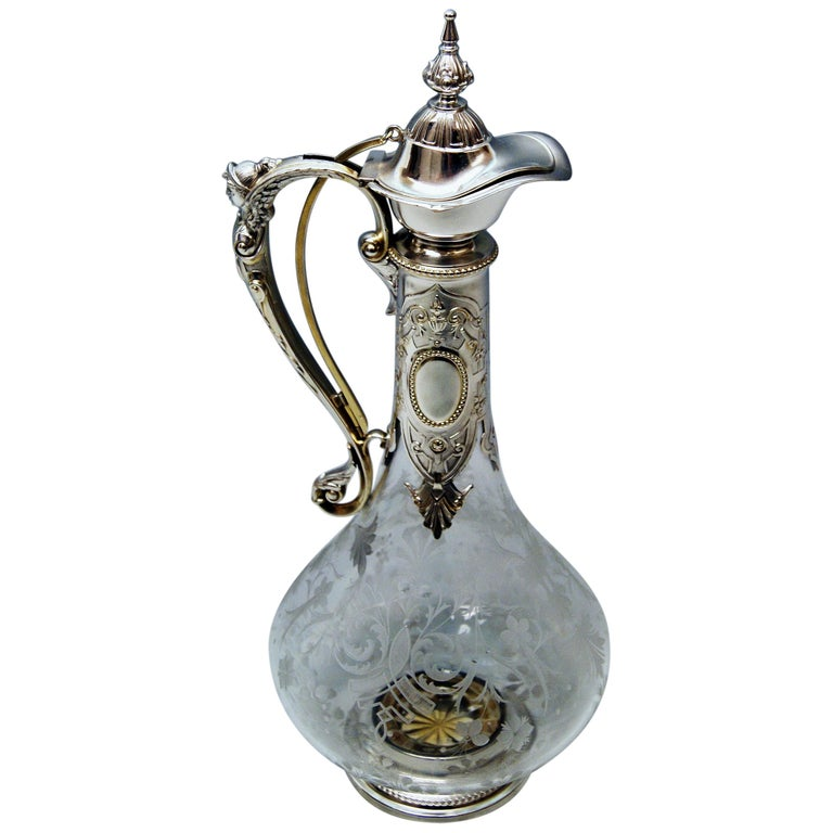 Silver 800 Historicism Glass Decanter Wine Carafe, Austria Made circa 1880-1890 For Sale