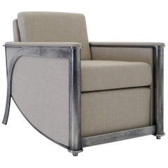 Constantine Club Chair with Fabric Upholstered Back and Seat by Mark Zeff