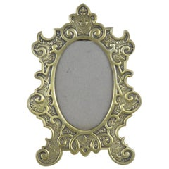 1890s French Fin de Siècle Brass Oval Frame with Easel Back