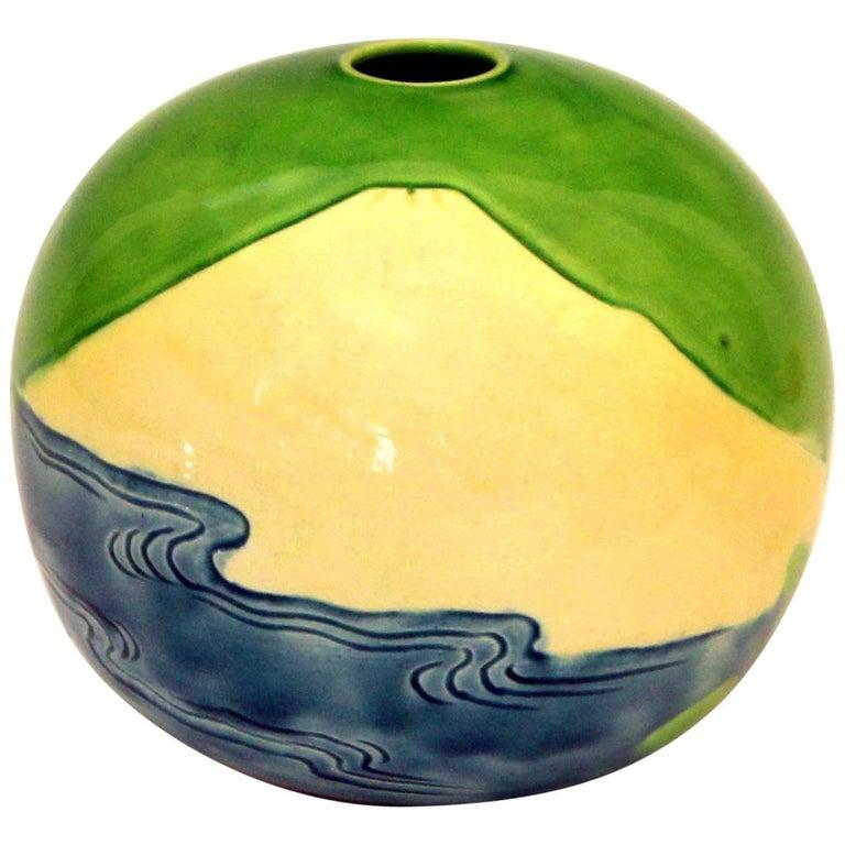 Antique Awaji Pottery Vase Carved Sky, Mt. Fuji, Ocean For Sale