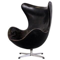 Arne Jacobsen Egg Chair Model 3316 in Original Leather by Fritz Hansen, 1960s
