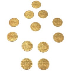 Early 19th Century Set of 12 Brass Gilt Hunting Buttons by Firmin & Langdale