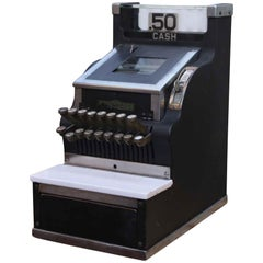1930s Petite Black Metal Henry Kass Inc. Cash Register