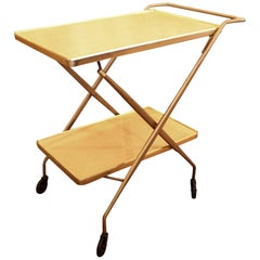 1950s Mid-Century Modern Folding Formica Bar Cart with Two Shelves