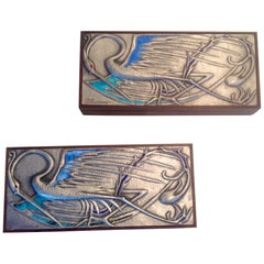 Pair of Signed Ottaviani Sterling and wood boxes