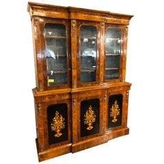 19th Century Victorian Walnut Bookcase Vitrines