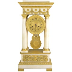 White Marble and Ormolu Mantel Clock Charles X, 19th Century