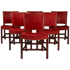 "Set of Six Dining Chairs ""The Red Chair"" Designed by Kaare Klint"