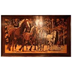 Inlaid Wood Portrait of Horses, 1980s