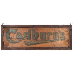 Antique Victorian Hand Painted Cadbury Cocoa Sign, circa 1900-1910
