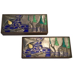 Pair of Ottaviani Sterling Enamel and Wood Boxes