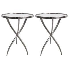 Two French Style Modern Neoclassical Polished Nickel Side Tables