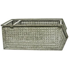 Large Galvanized, Perforated Metallic Crate 'Varnished', France, circa 1950