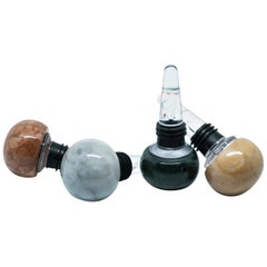 Set of 4 Marble and Plexiglas Champagne Bottles Stoppers