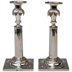 Silver 12 Lot German Two Candlesticks Empire Period Leipzig Made circa 1790