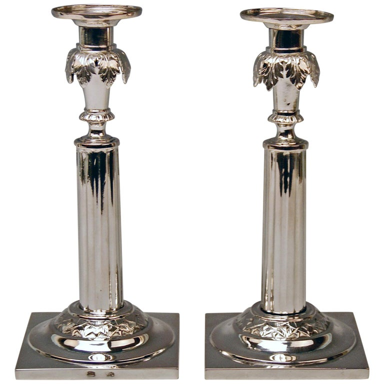Silver 12 Lot German Two Candlesticks Empire Period Leipzig Made circa 1790 For Sale