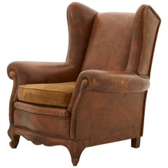 Spanish Leather Wingchair with Velvet Seat