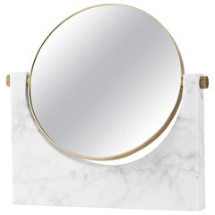 Pepe Marble Mirror, Brass, White Marble