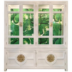 White Lacquered Asian Chinoiserie Lighted Cabinet by Century